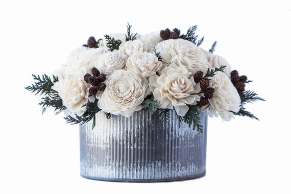Large Farmhouse Winter Floral Centerpiece - Ships FREE