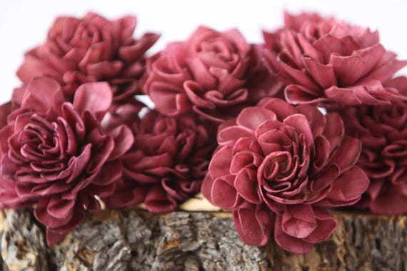 Aubergine Dahlia Sola Flowers - Set of 10, Sangria Folded Sola Flowers, Wine Sola Flowers, Wood Sola Flowers, Balsa Wood Flowers, DIY flower