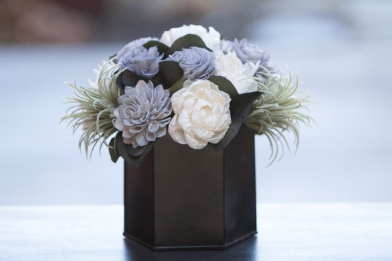 Grey and Black Geometric Floral Centerpiece
