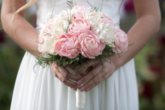 Classic Blush Pink and Ivory Bridal Bouquet - Large Round Bridal Bouquet - Keepsake Bouquet