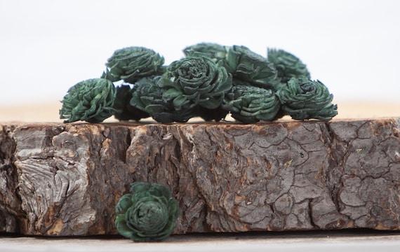 Dark Green Mini Chorki Flowers - Set of 15