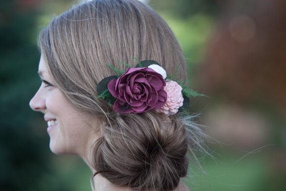 Burgundy And Blush Pink Boho Hair Comb