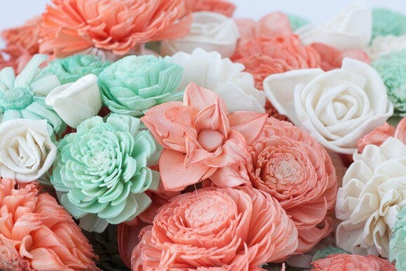Coral and Mint Sola Flower Mix - Available in sets of 45 and 100