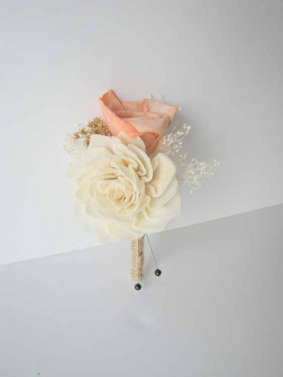Dahlia and Mini Rose Boutonniere - Ivory and Coral Boutonniere - Wood sola flower boutonniere