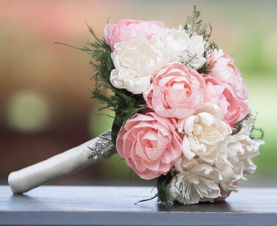 Classic Blush Pink and Ivory Bridesmaid Bouquet - Small Bridal Bouquet - Keepsake Bouquet
