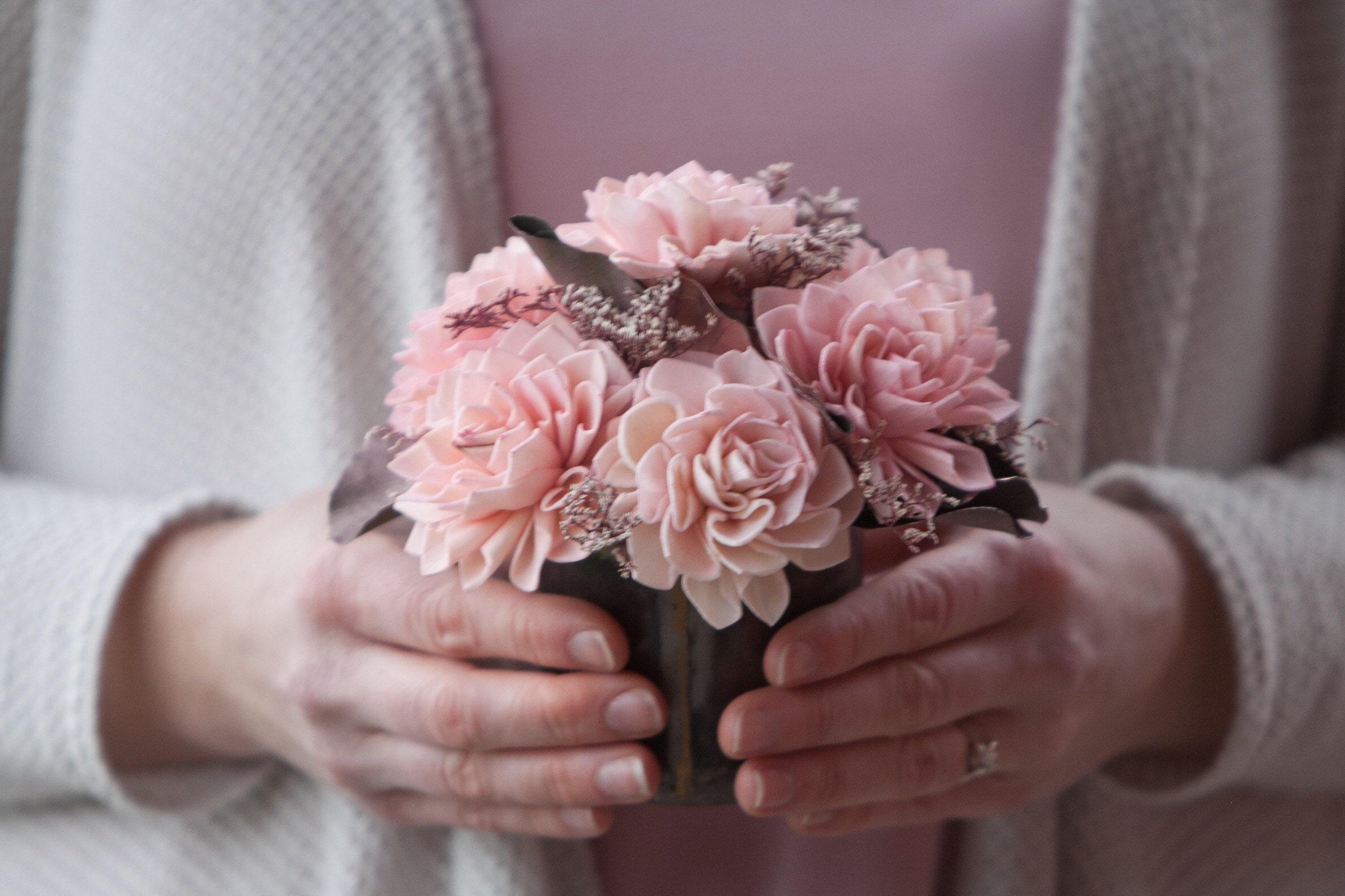 Blush Pink And Rose Gold Sola Flower Arrangement Keepsake Flowers