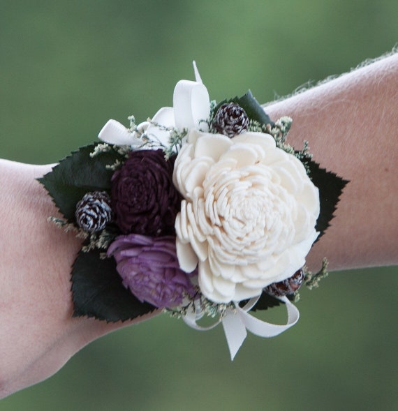 Woman's Purple and Pine Cone Beaded Wristlet Corsage