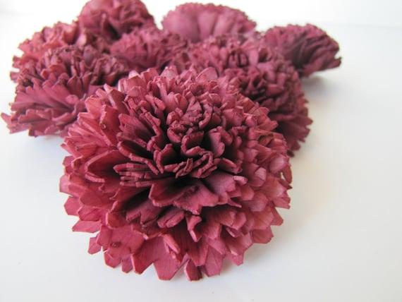 Aubergine Carnation Sola Flowers - SET OF 10 , Aubergine Sola Flowers, Wood Sola Flowers, Carnation Sola, Balsa Wood Flowers, Craft Flowers