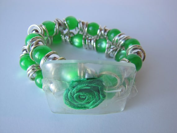 Green and Silver Beaded Corsage Bracelet