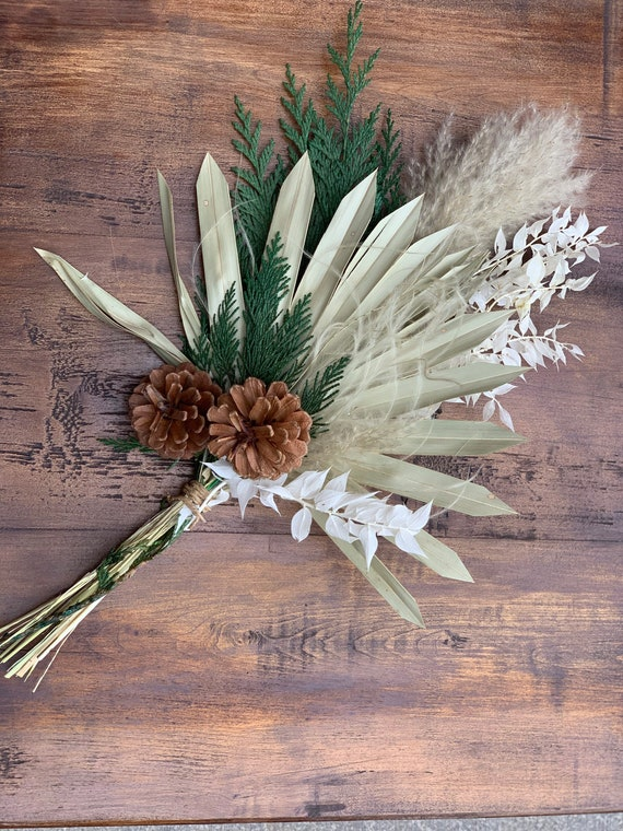 Brown Pinecone and Palm Leaf Dried Flower Winter Arrangement