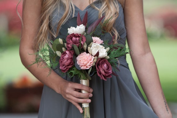 Burgundy and Blush Pink Sola Flower Boho Bridesmaid Bouquet - FallnKeepsake Bridesmaid Bouquet