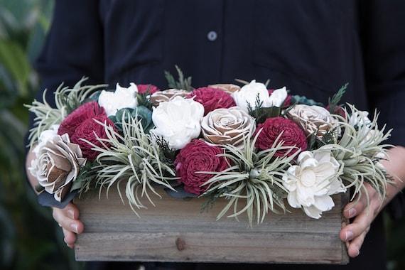 Christmas Wishes Rectangular Sola Flower Arrangement - Holiday Centerpiece