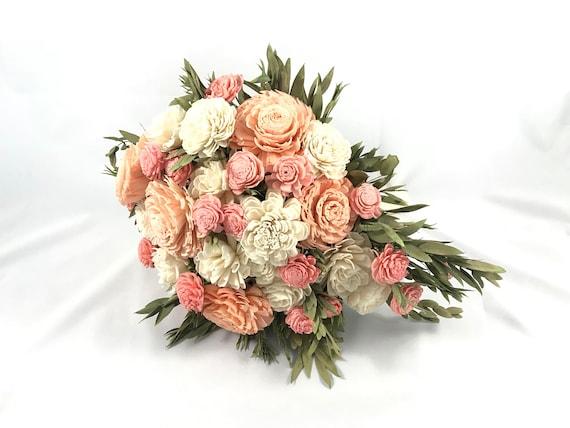 Pink and Peach Teardrop Bridal Bouquet - Mini Cascading Bouquet - Bridal Bouquet - Keepsake Bridal Bouquet