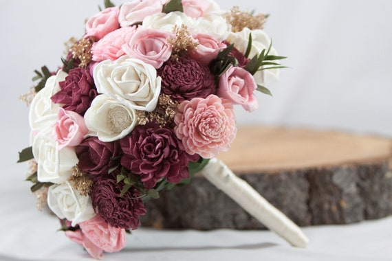 Burgundy and Blush Pink Bridal Bouquet, Keepsake Bridal Bouquet,  Sola Flower Bridal Bouquet