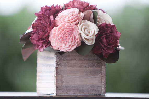 Pink, Burgundy and Rose Gold Sola Flower Arrangement
