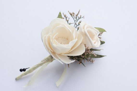Camellia and Mini Rose Boutonniere, Wood Sola Flower boutonniere, Pin On Boutonniere