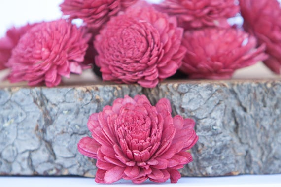 Red Zinnia Sola Flowers - SET OF 10