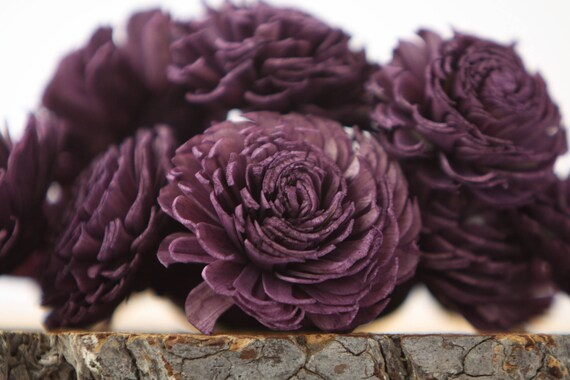Eggplant Chorki Sola Flowers - SET OF 10 , Chorki, Sola, Wood Sola Flowers, Chorki Sola, Balsa Wood Flowers, Wedding DIY, Craft Flowers