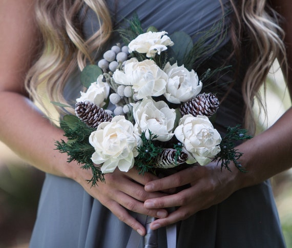Frosted Pinecone Boho Bridesmaid Bouquet -Keepsake Bridesmaid Bouquet