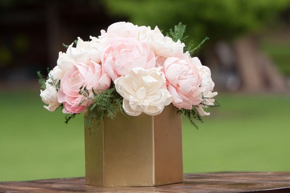 Blush Pink and Ivory Sola Flower Arrangement - Ships FREE, Flower Centerpiece, Floral Centerpiece