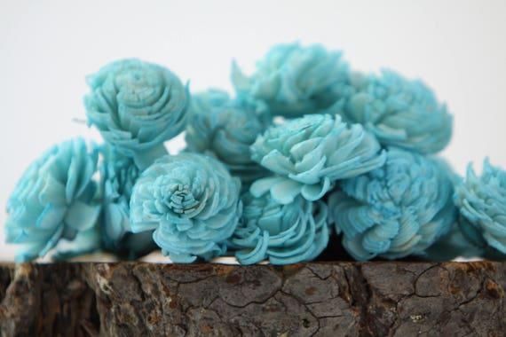 Turquoise Mini Chorki Flowers - Set of 15 , Aquamarine mini chorki sola flowers, sola flowers, balsa wood sola flowers, sky blue sola flower