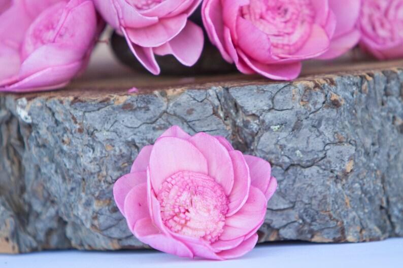 Camelia Sola Hot Pink Camellia Sola Flowers- SET OF 10 Hot Pink Sola Flowers Wedding DIY Crafting Flowers Wood Sola Flowers