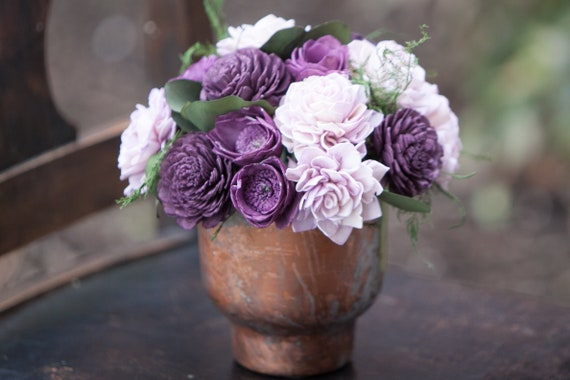 Purple and Lavender Sola Flower Metal Centerpiece