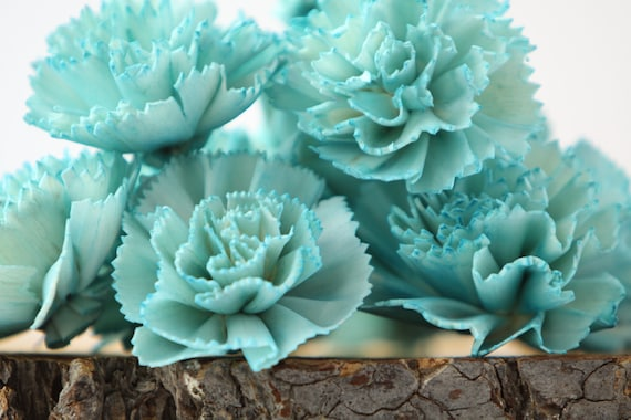 Teal Carnation Sola Flowers - SET OF 10 , Sola Flowers, Teal Wood Sola Flowers,  Carnation Sola, Balsa Wood Flower, Craft Flowers, Teal