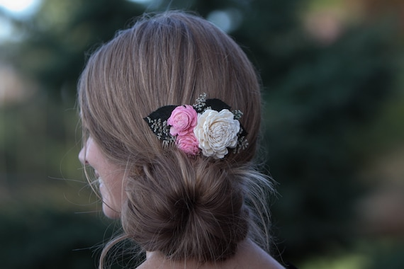 Pink And Ivory Floral Hair Comb