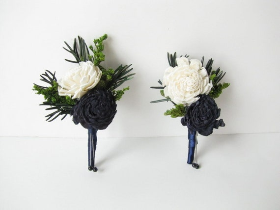 Navy Blue and Ivory Bouonniere- Navy Blue Wedding - Boutonniere