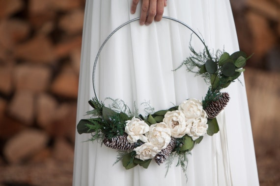 Frosted Pinecone Winter Flower Hoop - Sola Flower Wreath