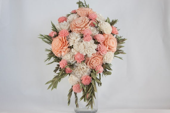 Pink and Peach Teardrop Bridal Bouquet - Mini Cascading Bouquet - Bridal Bouquet - Keepsake Bridal Bouquet