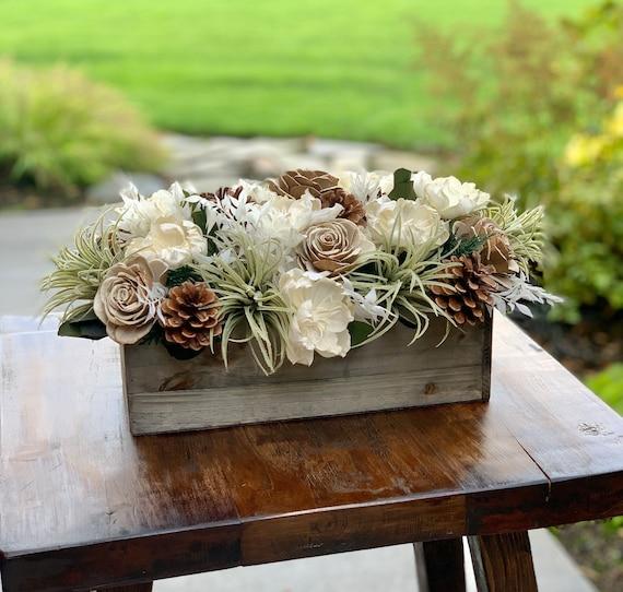 Winter Neutral Rectangular Sola Flower Arrangement with Faux Succulents and Pinecones