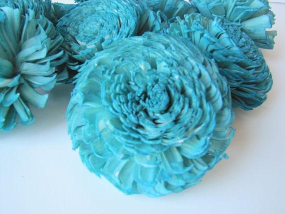 Teal Large Chorki Sola Flowers - Set of 10, Teal Sola Wood Flowers, Chorki Sola Flowers, Sola Flower, Wood Sola Flowers, Wedding DIY