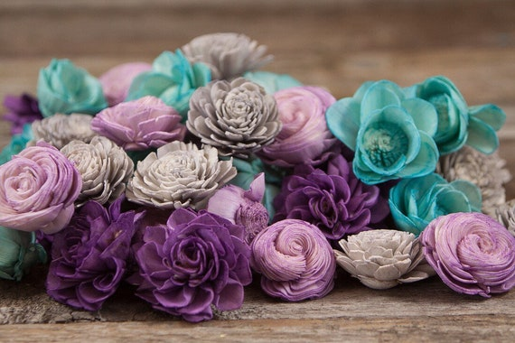 Teal and Purple Sola Flower Mix - Available in sets of 45 and 100