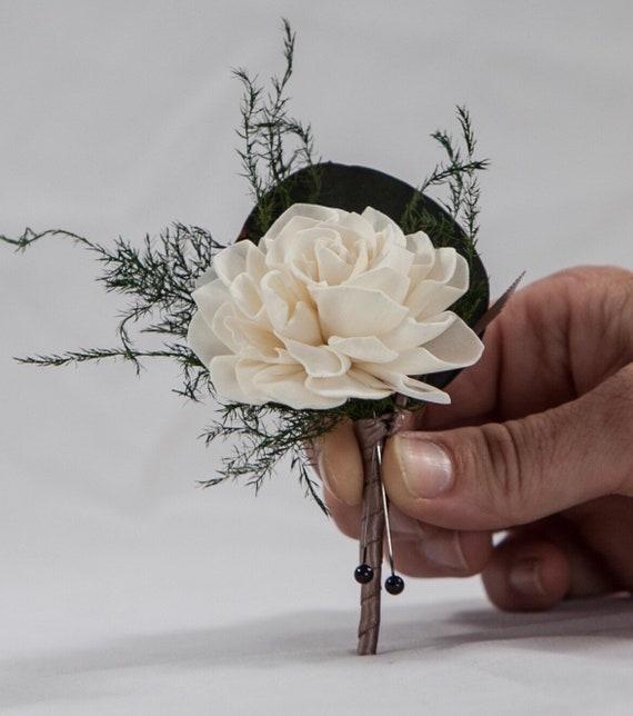 Dahlia Eucalyptus and Plumosa Fern Boutonnière - Wedding Boutonnière