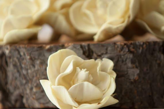 Pale Yellow Sola Magnolia Flowers- SET OF 10 , Light Yellow Sola Flowers, Buttercream Wood Sola Flowers, Magnolia Sola, Balsa Wood Flowers