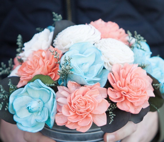 Coral, Turquoise and Ivory Tin Floral Arrangement - Keepsake Flowers
