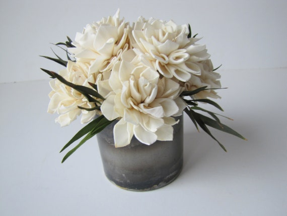 Dahlia Sola Flower Arrangement - Keepsake Sola Flower Arrangement - Ivory Sola Flower Arrangemet - Keepsake Centerpiece - Home Decor Flowers