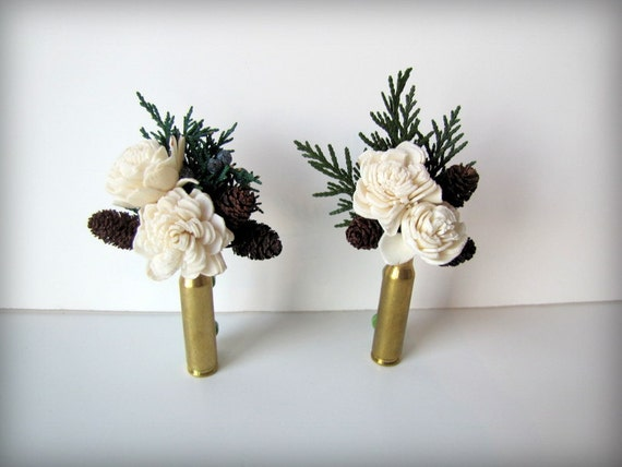 Sola Flowers and Pinecones Bullet Casing Boutonniere - Bullet Shell Boutonniere