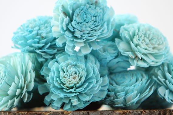 Turquoise Chorki Sola Flowers - SET OF 10 , Auquamarine Chorki, Sola, Light Blue Chorki Sola, Balsa Wood Flowers, Wedding DIY, Craft Flower
