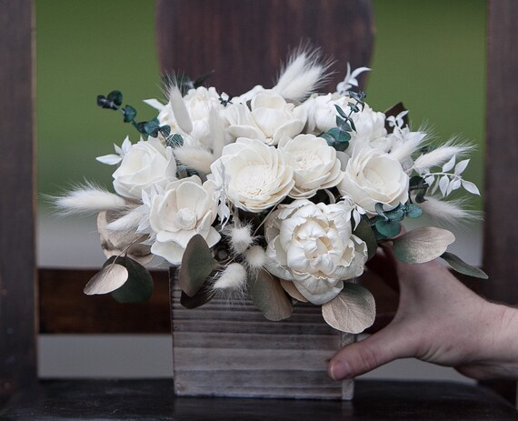 Boho Feel Ivory and Gold Keepsake Sola Flower Arrangement