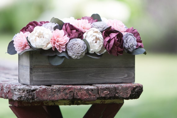 Burgundy Keepsake Rectangular Sola Flower Arrangement