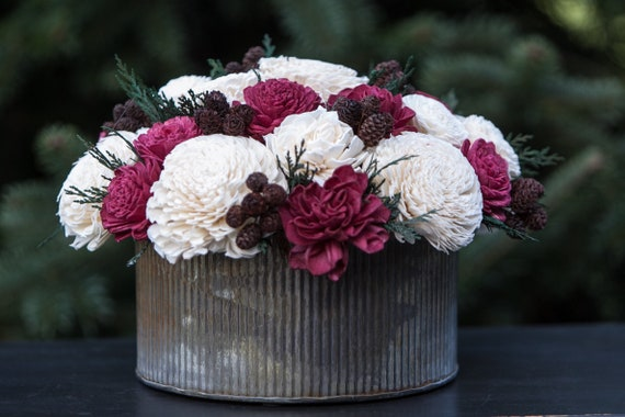 Large Red and White Farmhouse Centerpiece - Holiday Sola Flower Arrangement