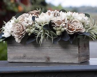 Neutral Rectangular Sola Flower Arrangement with Faux Succulents