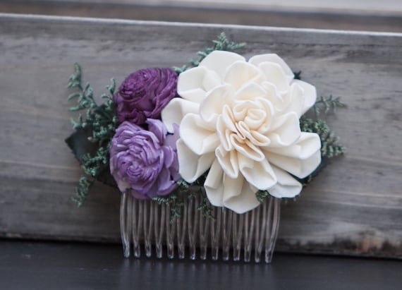 Purple And Ivory Floral Hair Comb