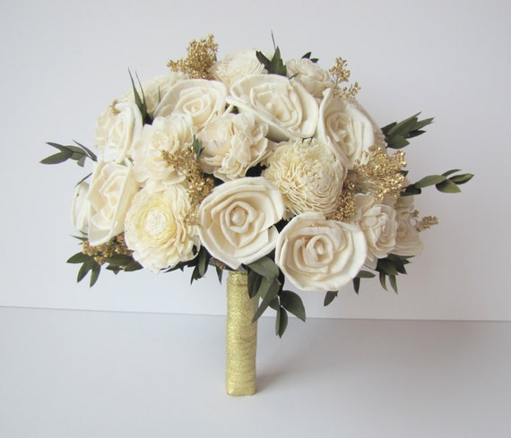 Large Ivory and Gold Bridal Bouquet, Bride's Flowers, Keepsake Wedding Bouquet