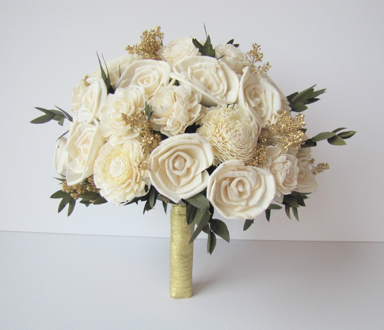 Ivory and Gold Bridal Bouquet - Bride\'s Flowers - Bridal Bouquet ...
