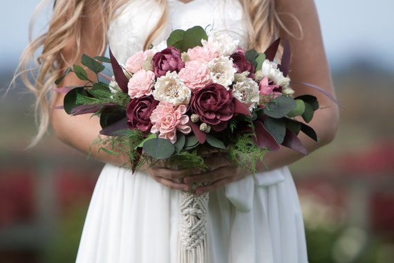 Large Burgundy and Blush Pink Sola Flower Boho Bridal Bouquet - Keepsake Bridal Bouquet