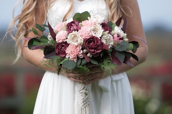 Large Burgundy and Blush Pink Sola Flower Boho Bridal Bouquet - Keepsake Bridal Bouquet